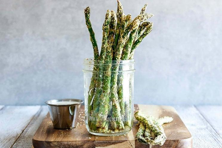 "<p>If you're in the mood for French fries, but don't want to suffer from the calories, cook up these baked asparagus fries as a healthy side dish instead. Not only are they tasty, they are also really easy to make.</p> <p><b>Get the recipe</b>: <a href=""https://www.popsugar.com/fitness/Asparagus-Fries-Recipe-44851521"" class=""link rapid-noclick-resp"" rel=""nofollow noopener"" target=""_blank"" data-ylk=""slk:baked asparagus fries"">baked asparagus fries</a></p>"