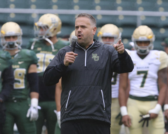 Baylor head coach Matt Rhule talks to players and fans before the start of their their annual Green and Gold scrimmage, Saturday, April 21, 2018, in Waco, Texas. (Rod Aydelotte/Waco Tribune Herald, via AP)
