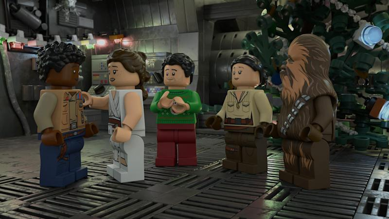 "Finn, Rey, Poe Dameron, Rose Tico and Chewbacca gather for Life Day festivities in the upcoming ""The Lego Star Wars Holiday Special"" on Disney+."