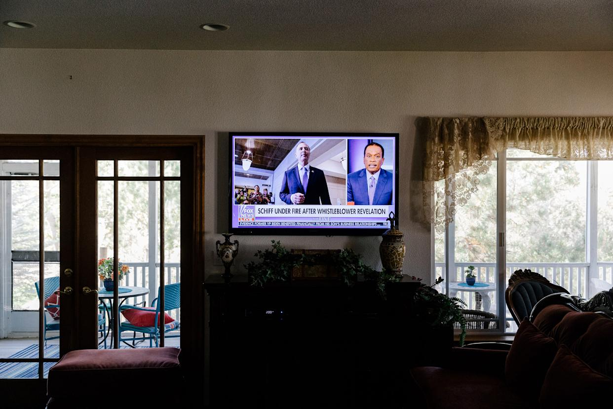 Fox News plays on a television in a residence in Gardnerville, Nev., on Oct. 3, 2019. (Jason Henry/The New York Times)