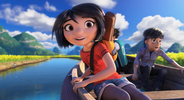 "This image released by DreamWorks Animation shows characters, Yi, voiced by Chloe Bennet, left, and Jin, voiced by Tenzing Norgay Trainor, in a scene from ""Abominable,"" in theaters on Sept. 27. (DreamWorks Animation LLC. via AP)"
