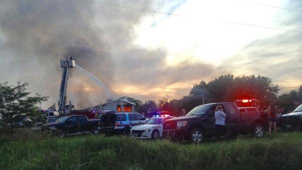Fire engulfed a fireworks wholesaler in Pleasant Hope, Missouri, on Tuesday, July 3, 2018. (Bolivar Herald-Free Press/Jill Way)