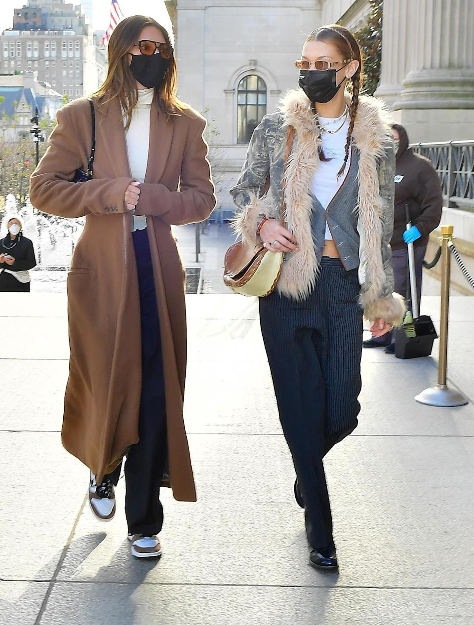 <p>Kendall Jenner and Bella Hadid leave Bubby's and head to the Metropolitan Museum of Art on Thursday in N.Y.C.</p>