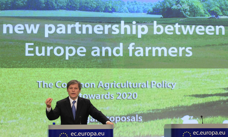 European Commissioner for Agriculture and Rural Development Dacian Ciolos addresses the media at the European Commission headquarters in Brussels, Wednesday, Oct. 12, 2011. Wednesday's proposals by the EU Commission wants to revamp the euro53 billion ($73 billion) annual program which eats up almost half the EU budget and make it greener, more efficient and fairer to the new member states from central and eastern Europe.  (AP Photo/Yves Logghe)