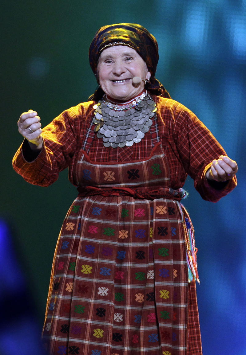 FILE - In this file photo taken on  Tuesday, May 23, 2012, Natalya Pugacheva, member of Russia's folk group Buranovskiye Babushki performs at the 2012 Eurovision Song Contest at the Baku Crystal Hall in Baku, Azerbaijan. Bailiffs in the Udmurtia region found the grave of Pugachyova's father Yahkov Begeshev who went missing while fighting Nazi Germans during World War II. (AP Photo/Sergey Ponomarev, file)