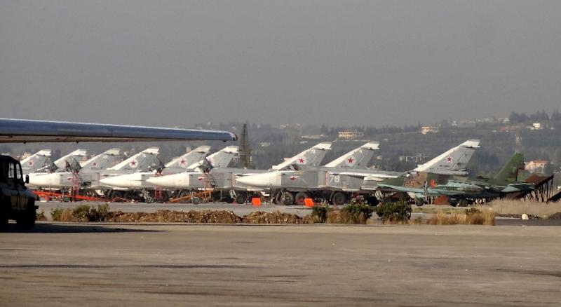 Russian fighter jets are seen on the tarmac at the Russian Hmeimim military base in Latakia province, Syria, on February 16, 2016