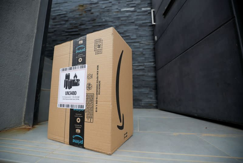 An Amazon package is delivered and left at the door during the coronavirus disease (COVID-19) outbreak in El Masnou