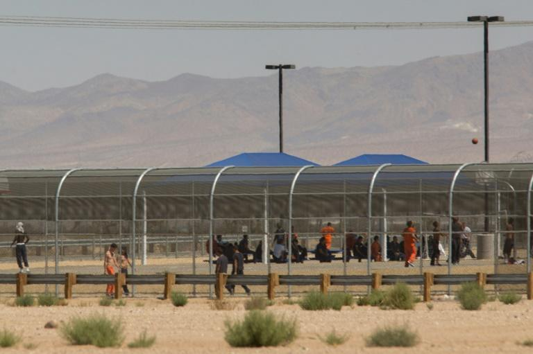 Imprisoned immigrants are seen at the US Immigration and Customs Enforcement (ICE) Adelanto Detention Facility