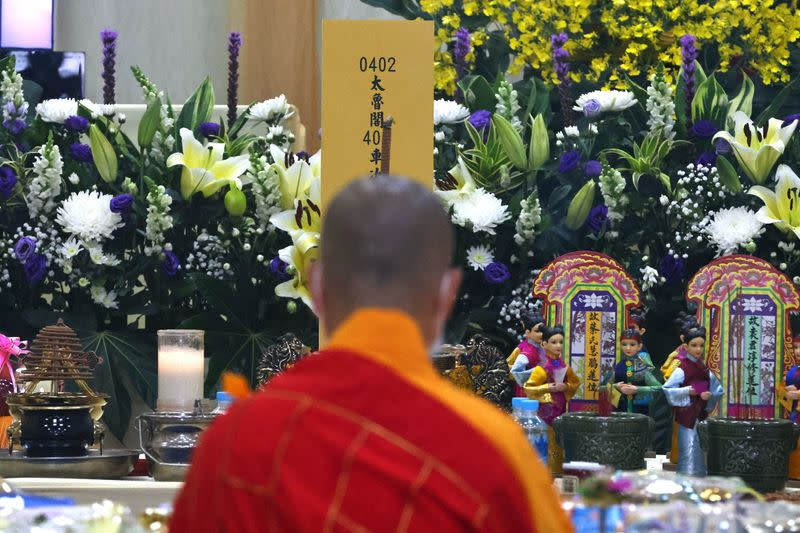 Prayer event held for victims of the deadly train derailment, at a funeral parlour in Hualien