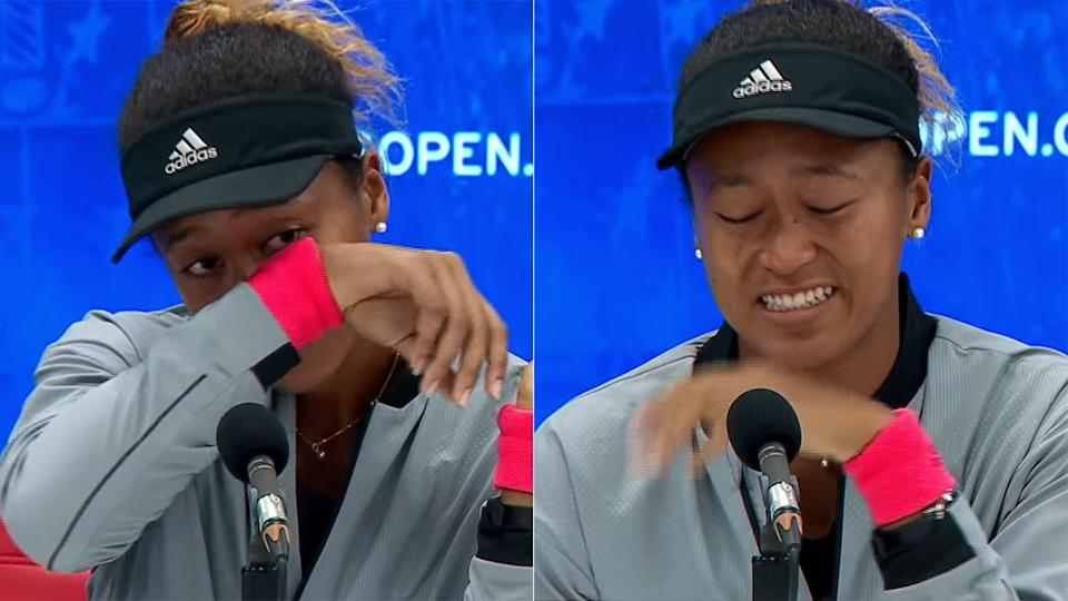 Naomi Osaka breaks down in the press conference. Pic: Getty