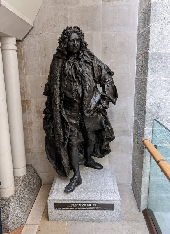 Statue of Sir John Cass is seen in the Guildhall