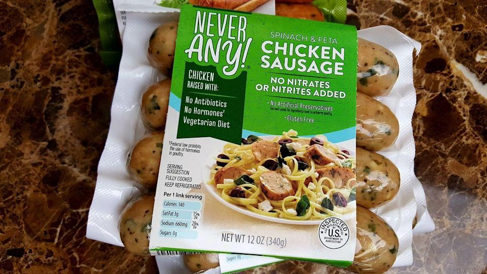 """<p>Aldi's Never Any! brand <a href=""""https://food52.com/blog/24321-best-aldi-secrets"""" rel=""""nofollow noopener"""" target=""""_blank"""" data-ylk=""""slk:comes with the promise"""" class=""""link rapid-noclick-resp"""">comes with the promise</a> of meat without antibiotics and hormones, and they don't stop there, also often cutting nitrates, nitrites, and more. That makes the products from this brand stand out right away. Then, there are <a href=""""https://www.aldi.us/en/grocery-goods/quality-brands/never-any/"""" rel=""""nofollow noopener"""" target=""""_blank"""" data-ylk=""""slk:varieties and flavors"""" class=""""link rapid-noclick-resp"""">varieties and flavors</a> that make items like chicken sausage a must for turning any dinner into a crowd-pleaser, like Spinach & Feta and Tomato Basil.</p>"""