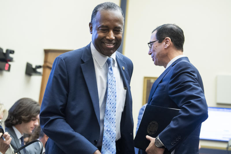 UNITED STATES - OCTOBER 22: HUD Secretary Ben Carson, left, and Treasury Secretary Steven Mnuchin are seen during the House Financial Services Committee hearing titled The End of Affordable Housing? A Review of the Trump Administrations Plans to Change Housing Finance in America, in Rayburn Building on Tuesday, October 22, 2019. (Photo By Tom Williams/CQ-Roll Call, Inc via Getty Images),