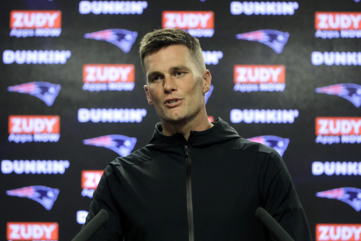 New England Patriots quarterback Tom Brady takes questions from reporters following NFL football practice, Wednesday, Sept. 11, 2019, in Foxborough, Mass. (AP Photo/Steven Senne)