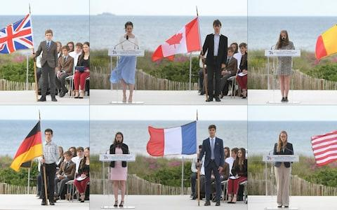 This combination of 6 pictures shows (from Top left) A English teenager, a Canadian teenager, a Belgian teenager, a German teenager, a French teenager and a US teenager delivering a speech during an international ceremony on Juno Beach - Credit:  LOIC VENANCE / AFP