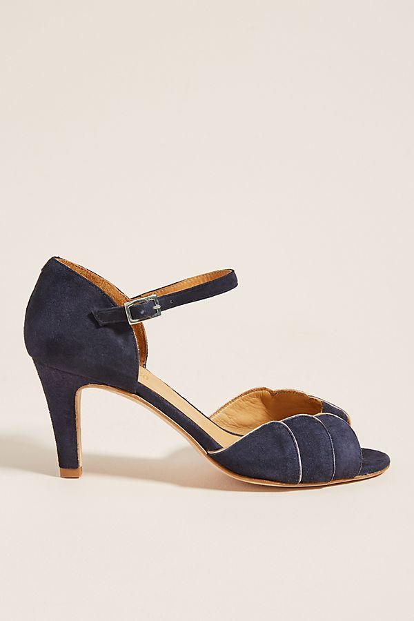 Emma Go Navy Ankle Strap Heels