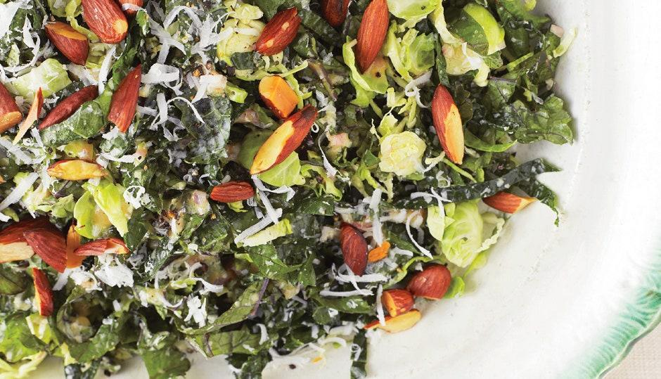 """<a href=""""https://www.bonappetit.com/recipe/kale-and-brussels-sprout-salad?mbid=synd_yahoo_rss"""" rel=""""nofollow noopener"""" target=""""_blank"""" data-ylk=""""slk:See recipe."""" class=""""link rapid-noclick-resp"""">See recipe.</a>"""