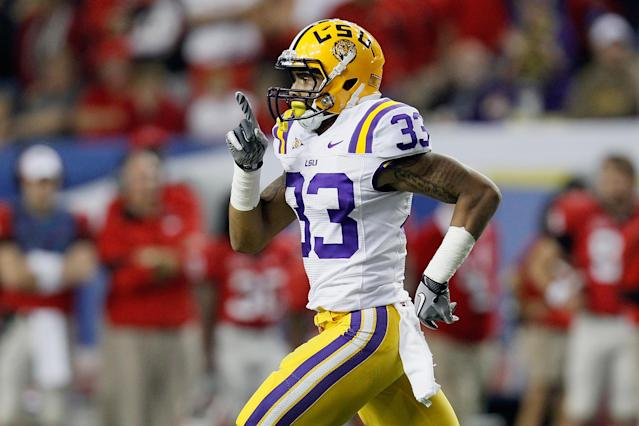ATLANTA, GA - DECEMBER 03: Odell Beckham Jr. #33 of the LSU Tigers celebrates after a play on he thought scored a touchdown but the play was called back in the third quarter against the Georgia Bulldogs during the 2011 SEC Conference Championship at Georgia Dome on December 3, 2011 in Atlanta, Georgia. (Photo by Kevin C. Cox/Getty Images)