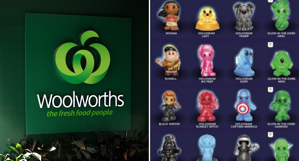 Generic photo of the Woolworths logo and a few of the Disney+ Ooshies Woolworths had for people to collect