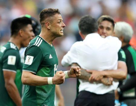 Soccer Football - World Cup - Group F - Germany vs Mexico - Luzhniki Stadium, Moscow, Russia - June 17, 2018 Mexico's Javier Hernandez celebrates after the match REUTERS/Carl Recine