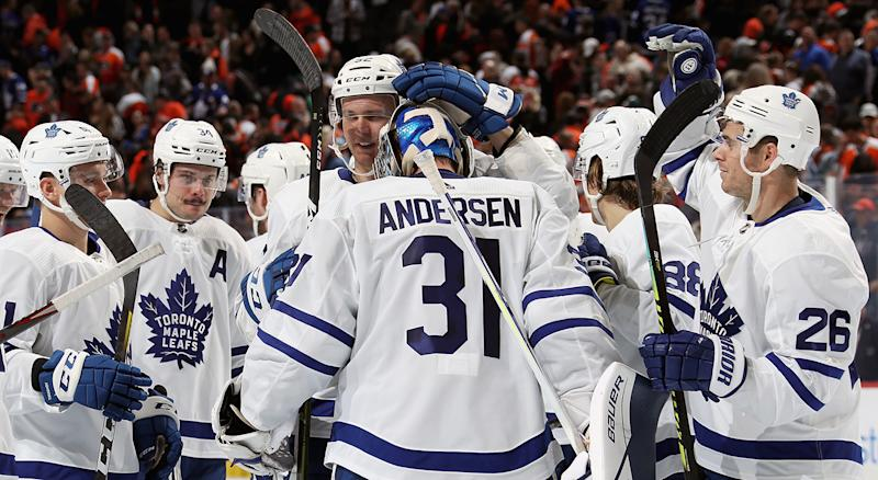 PHILADELPHIA, PA - NOVEMBER 02: Frederik Andersen #31 of the Toronto Maple Leafs celebrates with his teammates after defeating the Philadelphia Flyers 4-3 in a shootout on November 2, 2019 at the Wells Fargo Center in Philadelphia, Pennsylvania. (Photo by Len Redkoles/NHLI via Getty Images)