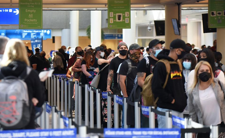 People in line at Orlando International Airport the day before Thanksgiving.