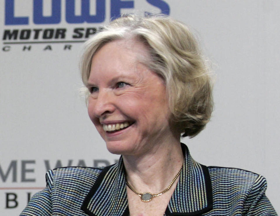 FILE - In this May 9, 2006, file photo, Janet Guthrie smiles during a press conference at Lowe's Motor Speedway in Concord, N.C. Janet Guthrie is still astonished at all the fan mail that pours in from around the world. And she's honored to hear that Academy Award winner Hilary Swank wants to portray her in a movie. Forty-four years after her history making run at the Indianapolis 500, Guthrie's impact on the growth of female sports is certainly a legacy worth remembering. (AP Photo/Rusty Burroughs, File)