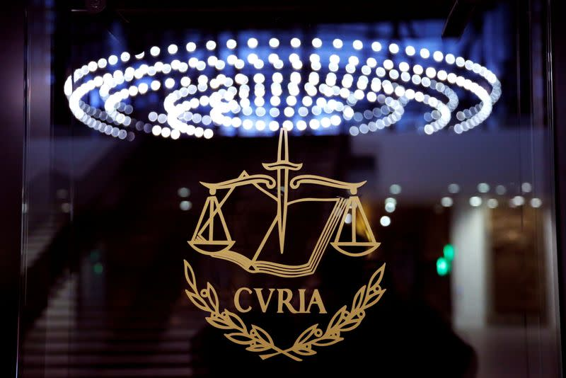 FILE PHOTO: The logo of the European Court of Justice is pictured outside the main courtroom in Luxembourg