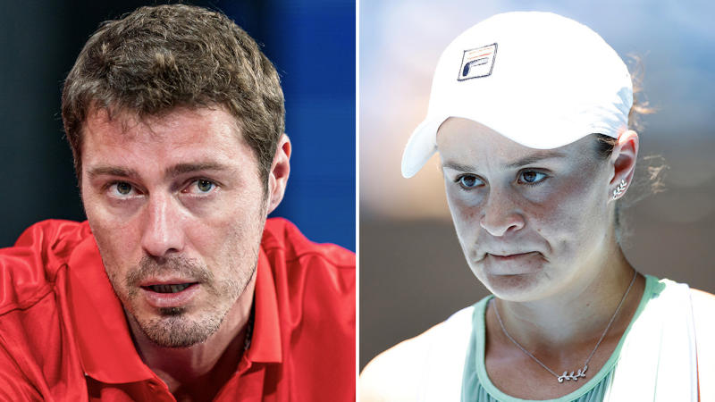 Marat Safin (pictured left) coaching and World No.1 Ash Barty (pictured right) looking frustrated.