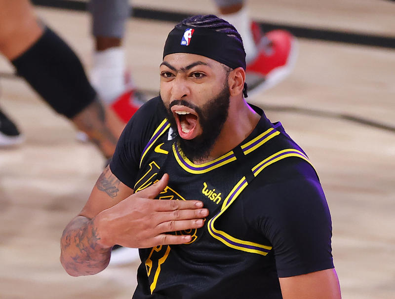 Anthony Davis has one thing on the NBA's greatest big men — a buzzer-beating three-pointer to swing a playoff series. (Kevin C. Cox/Getty Images)