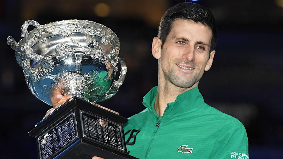 Pictured here, 2020 Australian Open men's champion, Novak Djokovic.