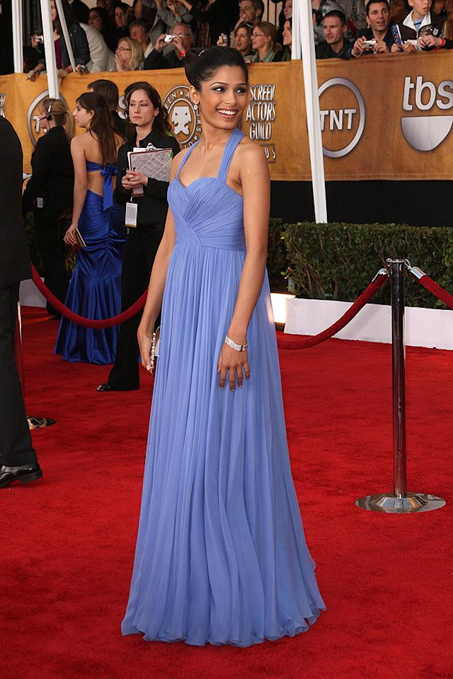 "BEST: <a href=""http://movies.yahoo.com/movie/contributor/1810042390"">Freida Pinto</a> at the 15th Annual Screen Actors Guild Awards in Los Angeles - 01/25/2009"
