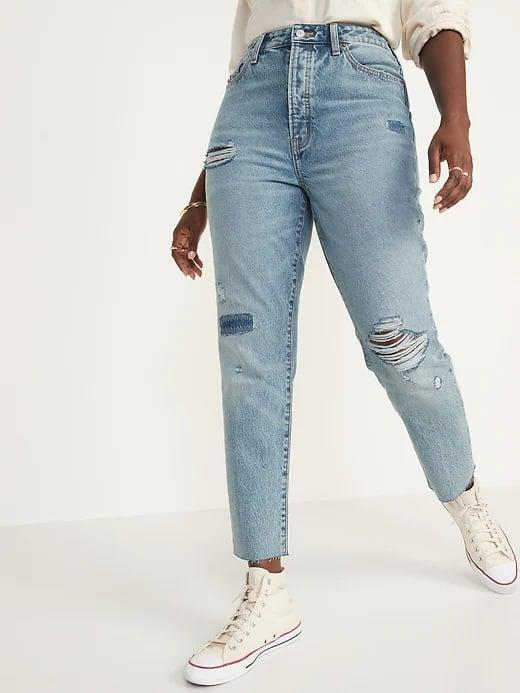 <p>Since so many jeans have spandex (even in small amounts), <span>Old Navy Higher High-Waisted Button-Fly O.G. Straight Ripped Non-Stretch Jeans</span> ($60) are noteworthy for being 100 percent cotton to hold their shape.</p>