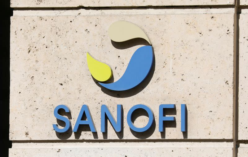 FILE PHOTO: Sanofi logo is seen at the company's headquarters in Paris, France