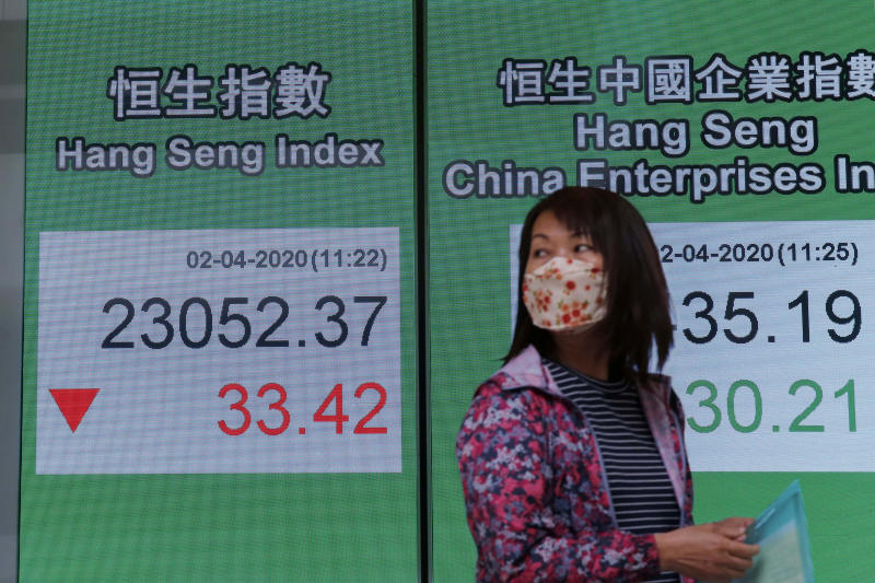 A woman walks past an electronic board showing Hong Kong share index outside a local bank in Hong Kong, Thursday, April 2, 2020. Asian stocks were meandering Thursday after a White House warning that as many as 240,000 Americans might die of the coronavirus sent Wall Street tumbling and signs of the outbreak's global economic cost increased.(AP Photo/Kin Cheung)