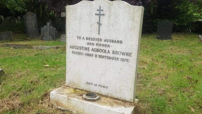 Browne was buried in a cemetery in north London