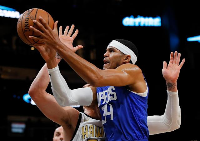 Tobias Harris had 24 points and eight rebounds in a win over the Hawks on Monday night. (Getty)