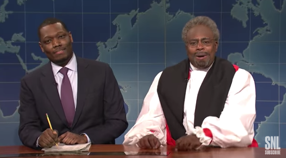 Kenan Thompson playing Bishop Curry, with Michael Che.