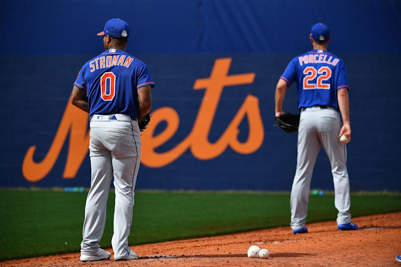 PORT ST. LUCIE, FLORIDA - FEBRUARY 20: Marcus Stroman #0 and Rick Porcello #22 of the New York Mets warm up in the bullpen during the team workout at Clover Park on February 20, 2020 in Port St. Lucie, Florida. (Photo by Mark Brown/Getty Images)