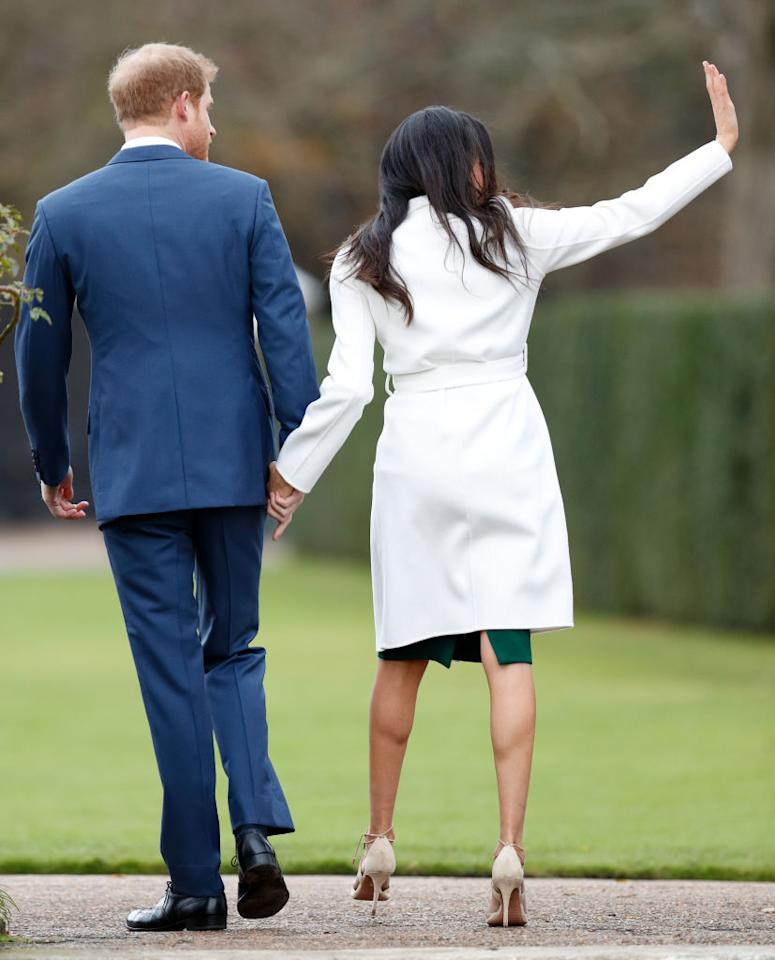 "<p>According to<a rel=""nofollow"" href=""https://www.thecut.com/2017/11/meghan-markle-panty-hose-movement.html""> The Cut</a>, there's an unspoken rule among royals that dictate women wear hosiery. Queen Elizabeth has been wearing pantyhose for 91 years, while Kate Middleton prefers glossy, sheer nylons. Meghan bravely decided to keep her legs bare, perhaps another sign that the royal family is becoming modern. <em>(Photo: Getty)</em> </p>"