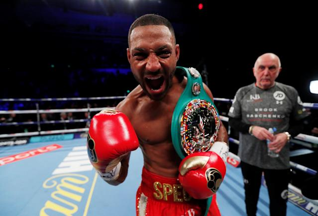 Boxing - Kell Brook vs Sergey Rabchenko - Sheffield, Britain - March 3, 2018 Kell Brook celebrates after winning the fight Action Images via Reuters/Andrew Couldridge