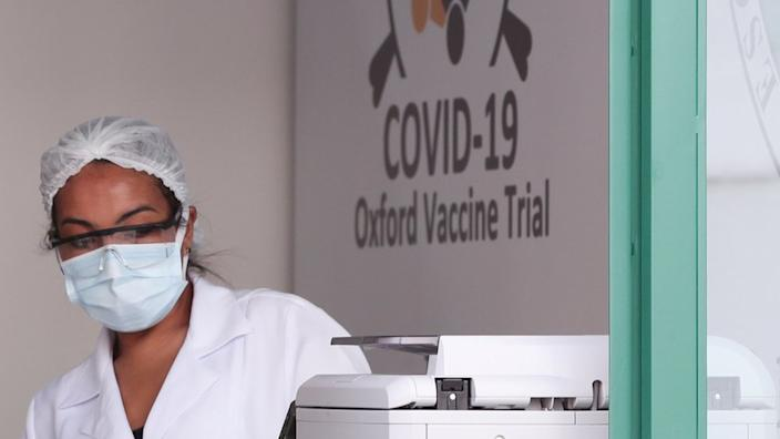 An employee is seen at the Federal University of Sao Paulo (Unifesp) where the trials of the Oxford/AstraZeneca coronavirus vaccine are being conducted