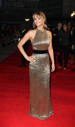 at 'The Hunger Games' UK film premiere at the O2 arena in London, Wednesday, March 14, 2012. (AP Photo/Joel Ryan)