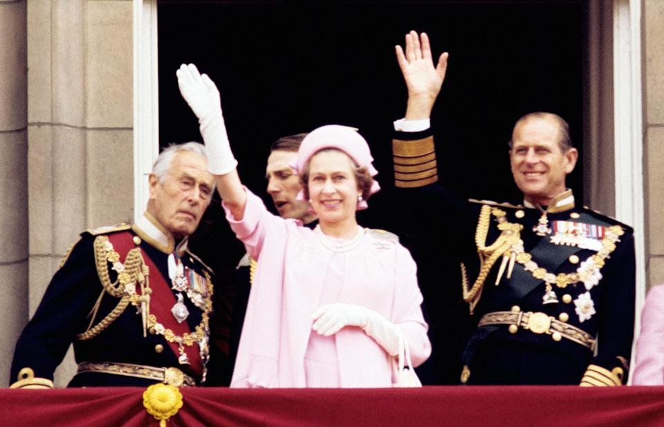<p>Lord Mountbatten with the Queen and Philip in 1977, two years before the earl's death </p> (PA)