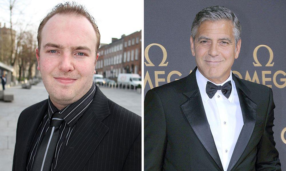 It's… George Clooney - This is David James Glendon, who amazingly won a George Clooney Lookalike Contest in his home town in Kilkenny, Ireland. We can't see it ourselves.