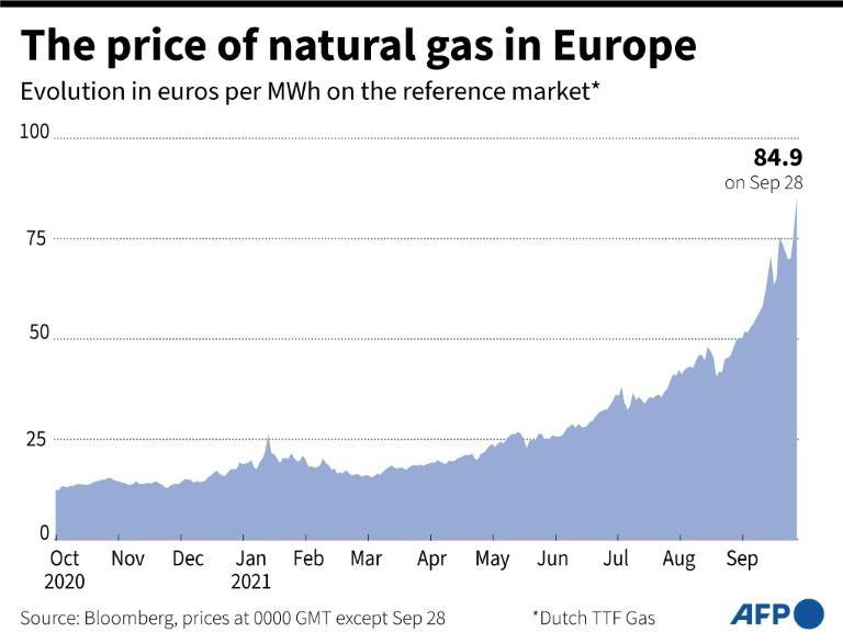 Price of natural gas in Europe to September 28 (AFP/Patricio ARANA)