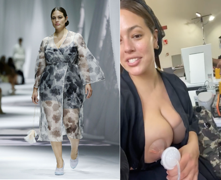 Ashley Graham went back to runway work for Fendi in Italy. Backstage she pumped while getting getting ready. (Photos: Getty Images; Instagram)