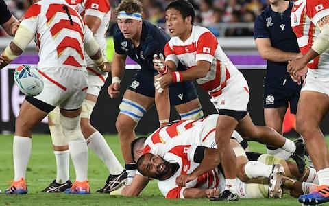 <span>The Japanese scrum-half is one of the lightest players at the tournament, listed at just 69kgs</span> <span>Credit: AFP </span>