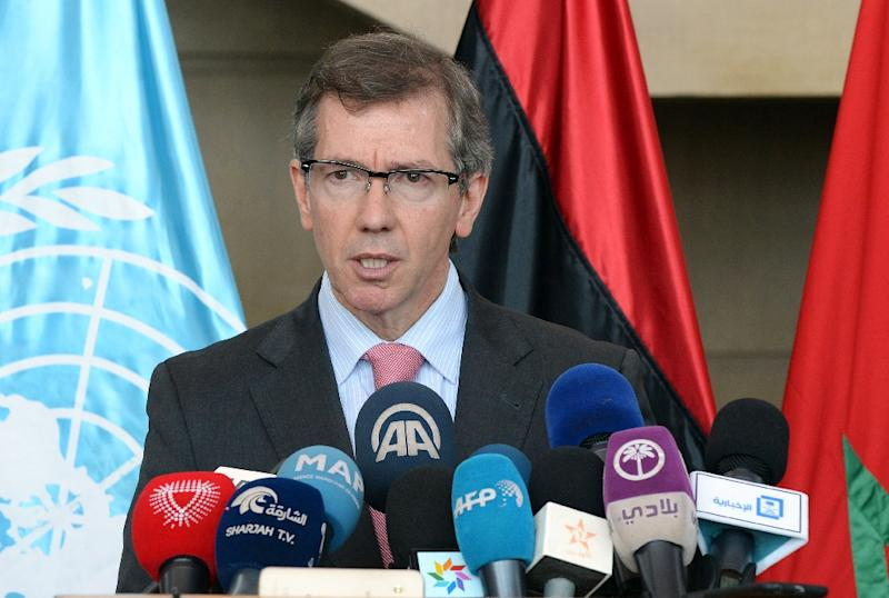 Special Representative and Head of the United Nations Support Mission in Libya, Bernardino Leon, delivers a speech during the UN-brokered talks in Skhirat, near the Moroccan capital Rabat on August 28, 2015