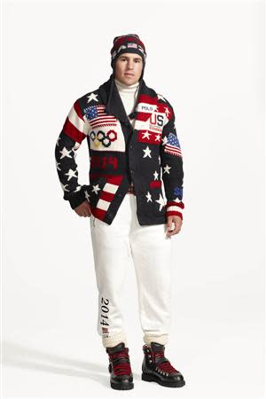 Zach Parise, U.S. professional ice hockey player for the Minnesota Wild on the United States men's ice hockey team is shown wearing the Official Opening Ceremony Parade Uniforms for the 2014 Winter Olympic Games in this photo released on January 23, 2014. REUTERS/Ralph Lauren/Handout